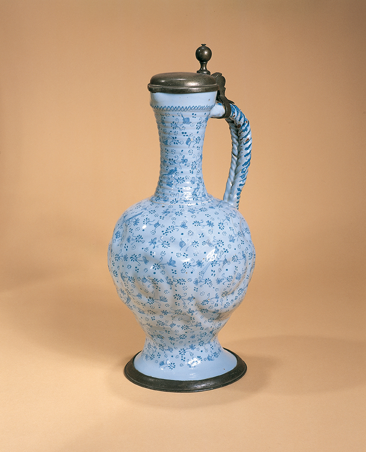 German-Faience-Ansbacher Vögeleskrug um 1720