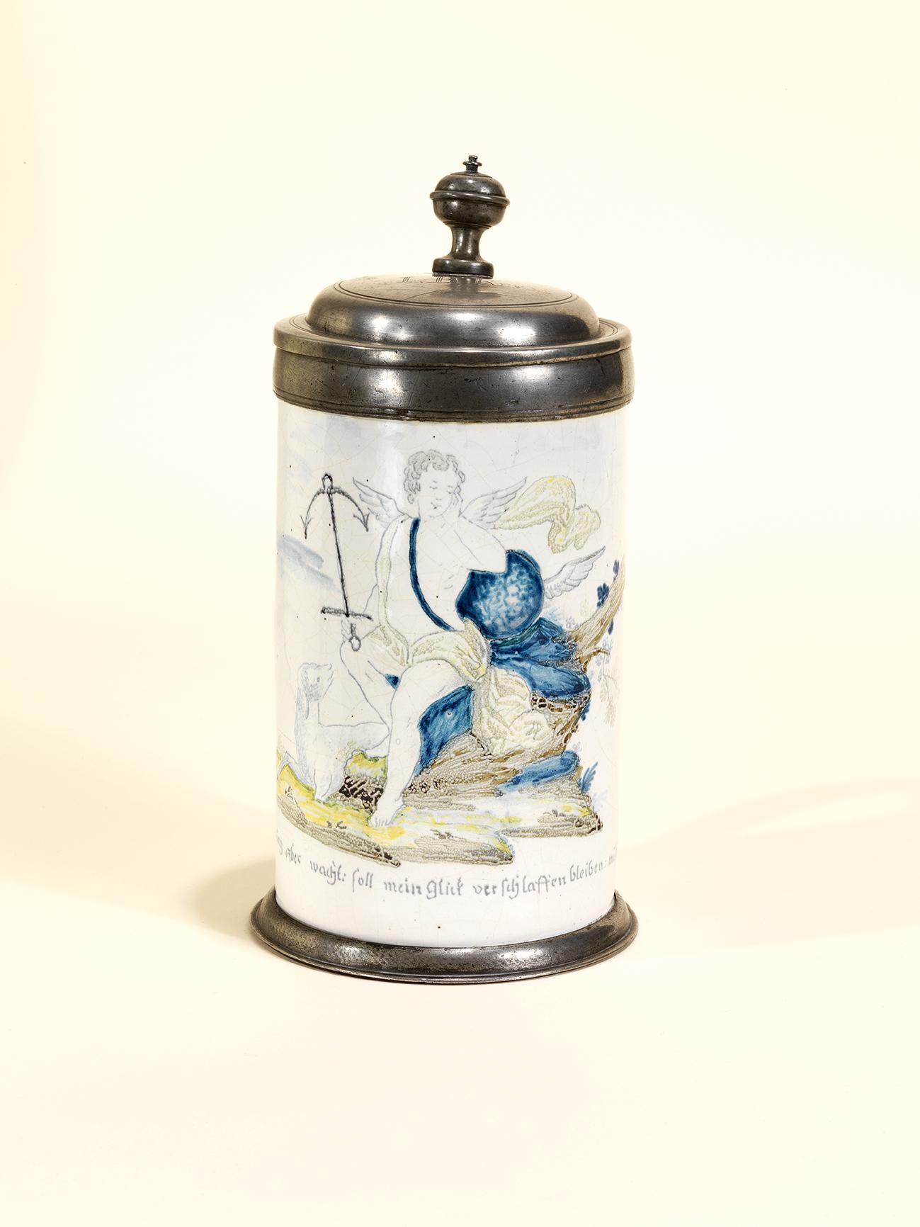 Peter Vogt Fayence München - Friedberger Fayencekrug um 1760