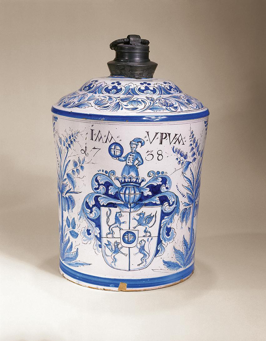 Niederösterreichische Fayenceflasche 1738 datiert - Fayence Steinzeug Vogt Rathaus München