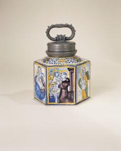 Niederösterreichische Fayenceflasche um 1750 - Fayence Steinzeug Vogt Rathaus München