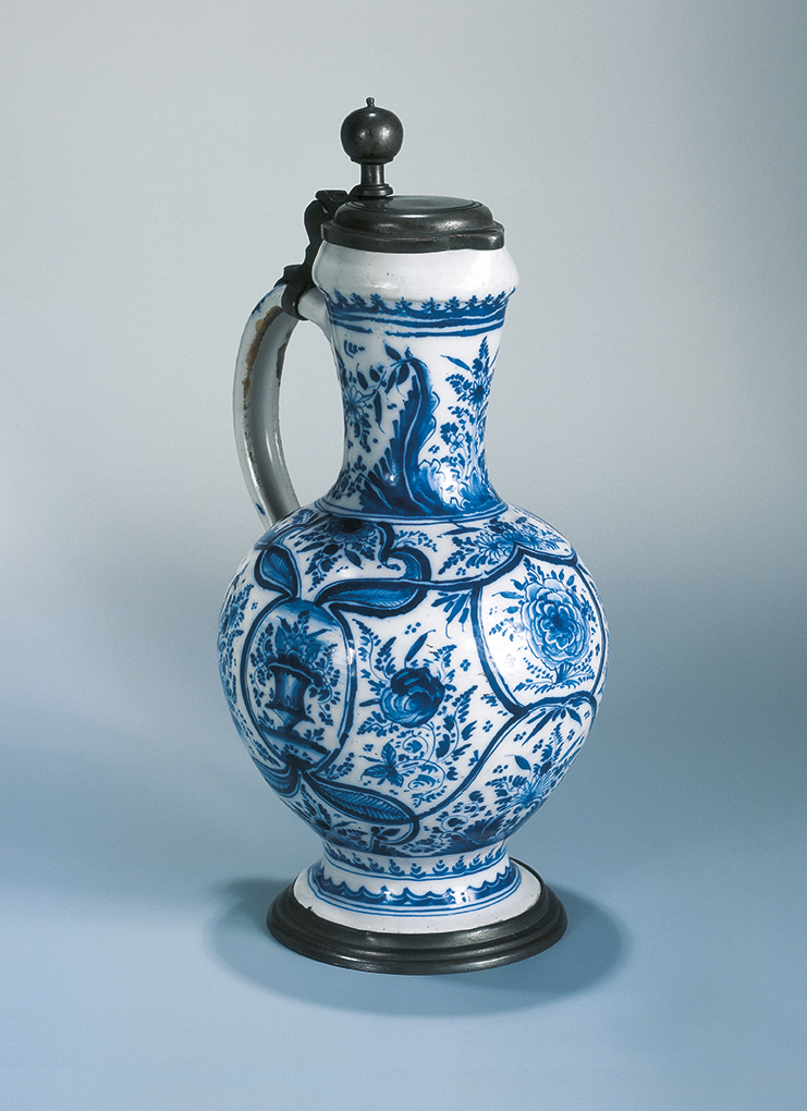 German-Faience-Nuremberg Narrow-necked Jugca. 1730 , high-fired blue coloring, pewter mounting