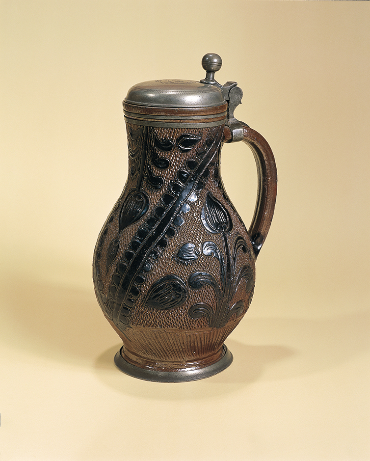 17th century saltglazed stoneware Muskau Birnkrug 1701 datiert