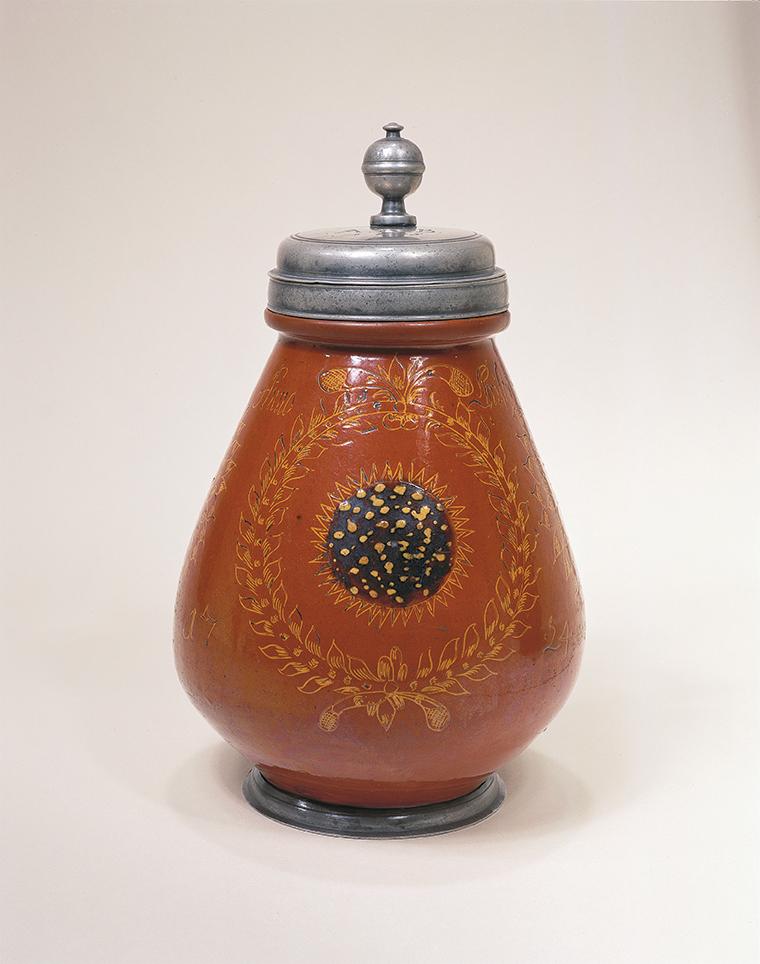 Wetterauer Birnkrug 1724 datiert salt glazed stoneware jug