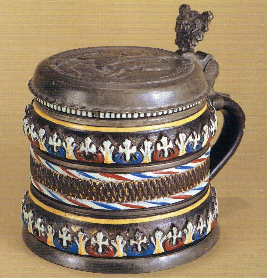 17th century antique stoneware Dippoldiswalde-Annaberg-tankard ca 1670