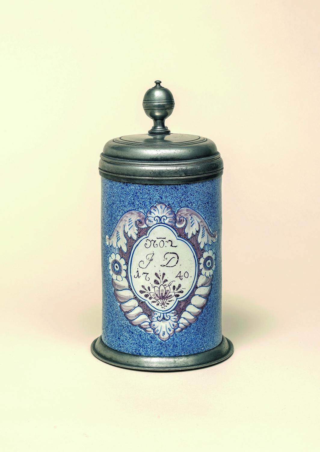 German-Fainence-Bayreuther Fayencewalzenkrug datiert 1740