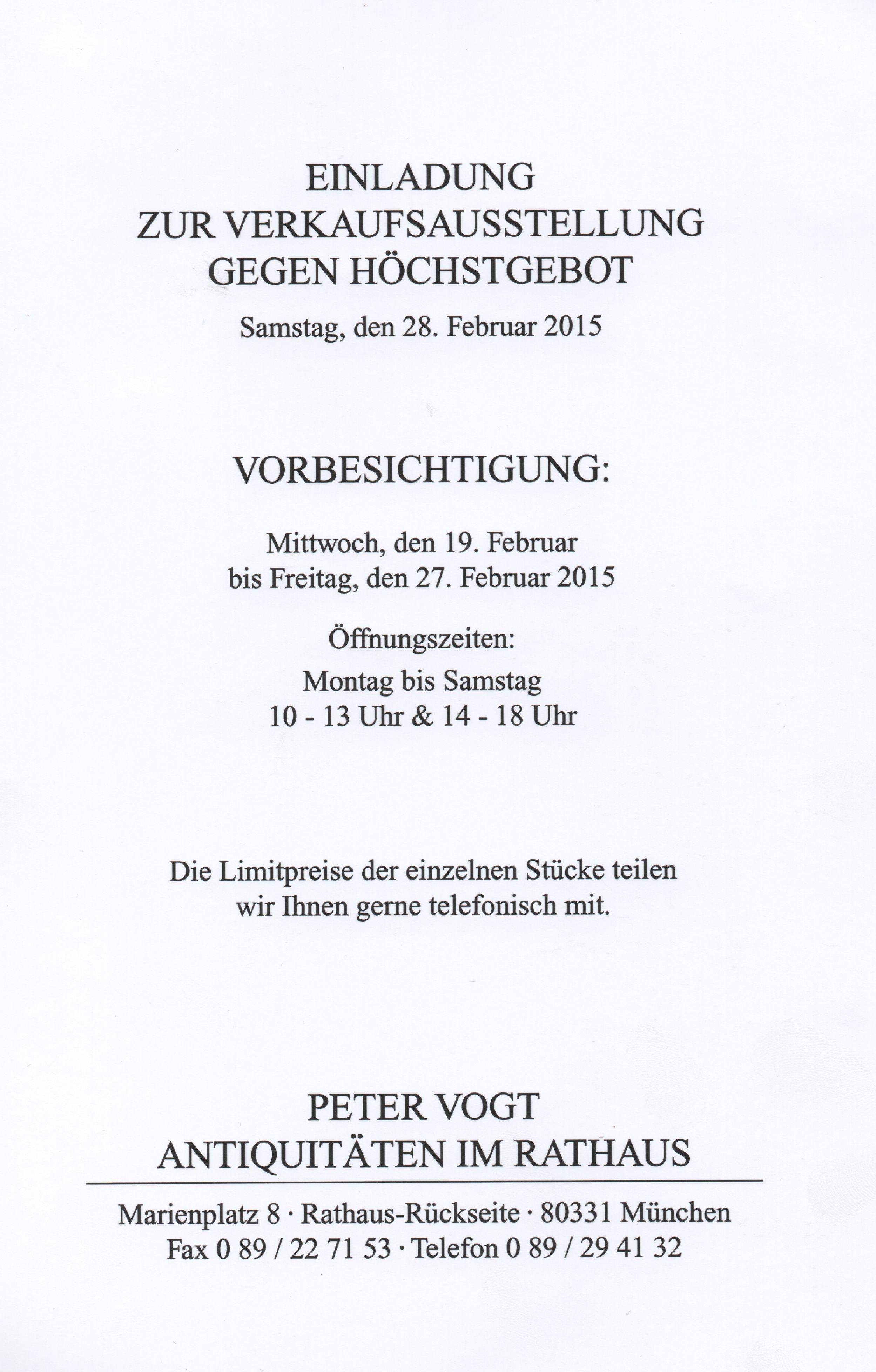 Einladung Verkaufssaustellung Peter Vogt Fayence Steinzeug