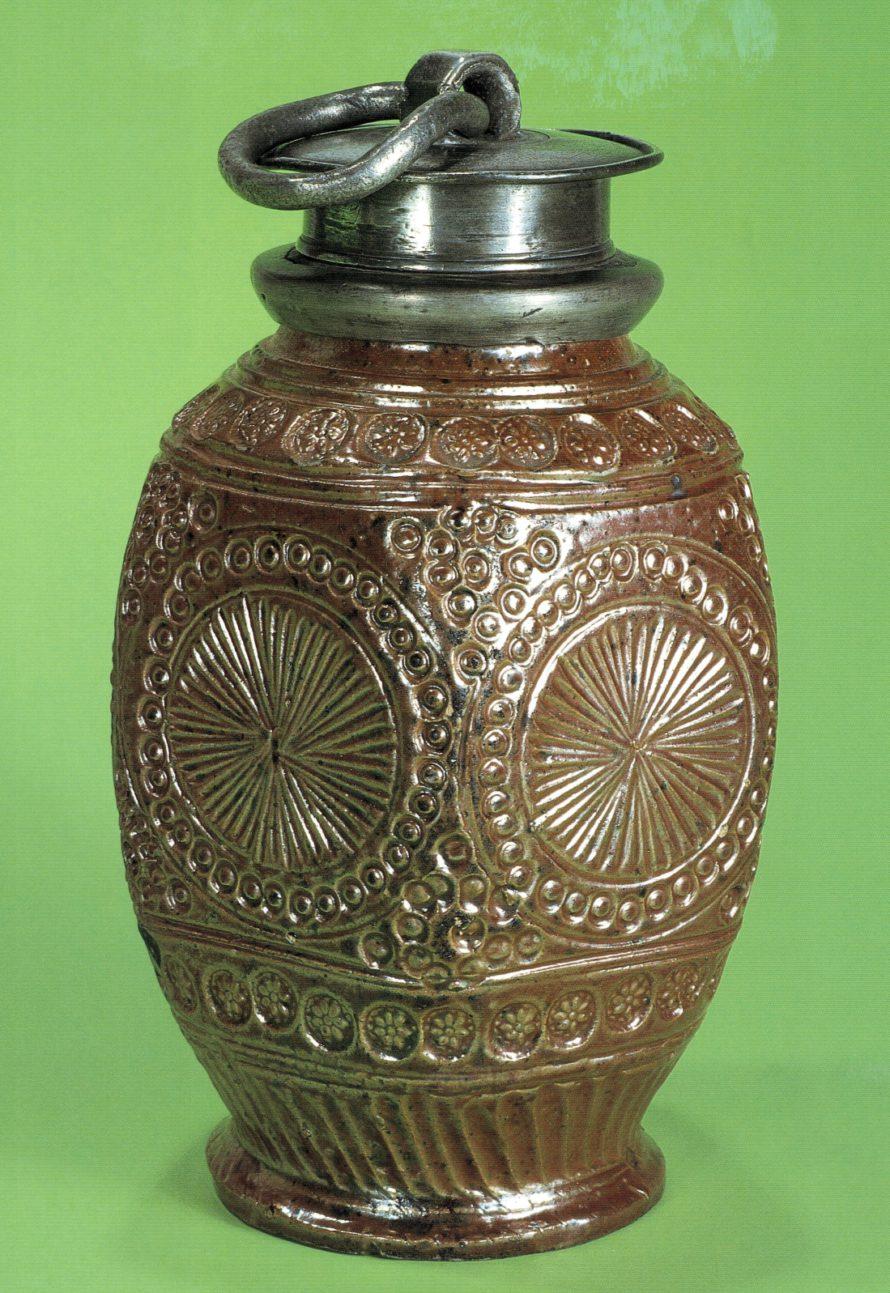 17th century saltglazed stoneware Muskau Steinzeugflasche um 1650