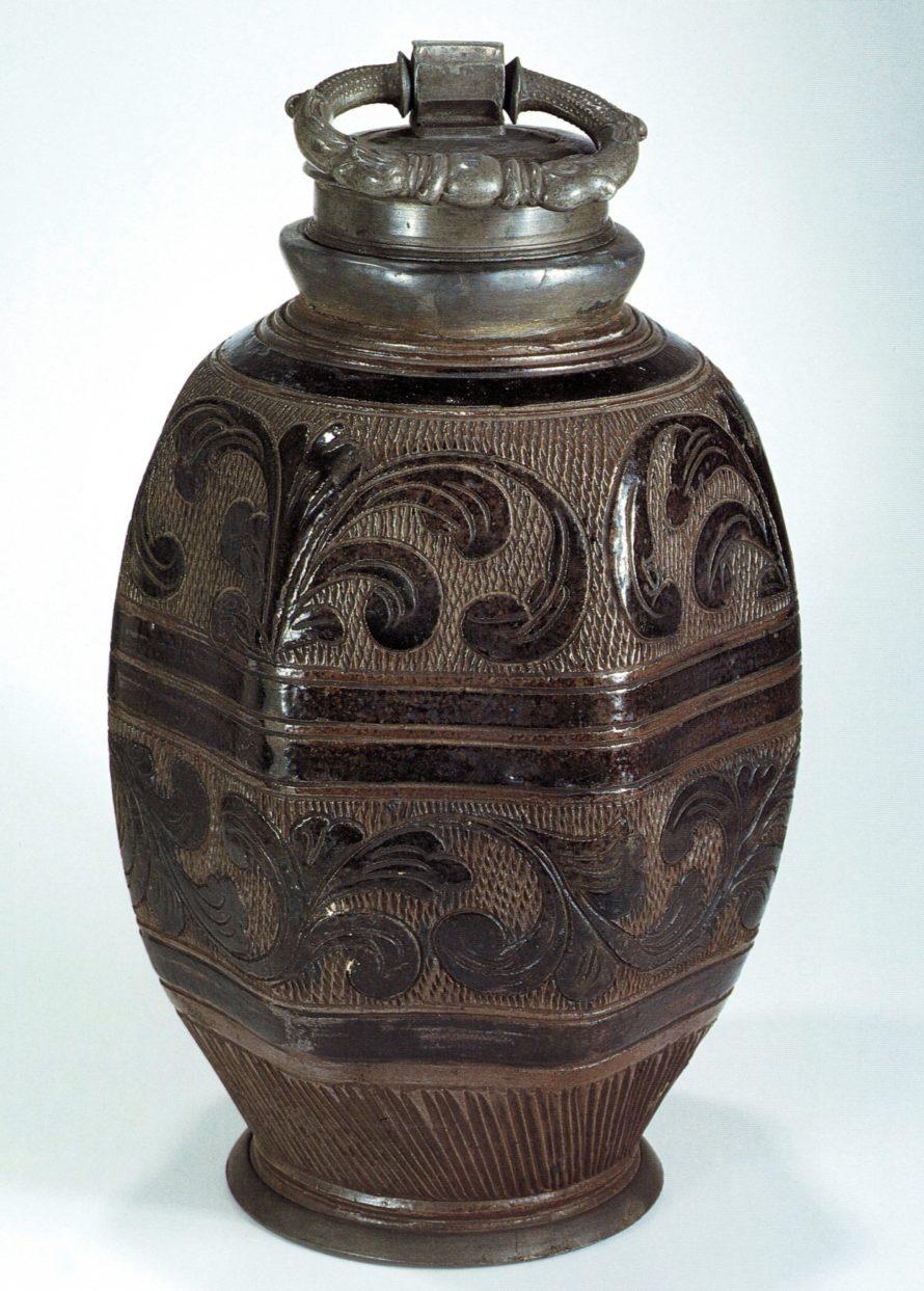 17th century saltglazed stoneware Muskau Steinzeugflasche um 1700