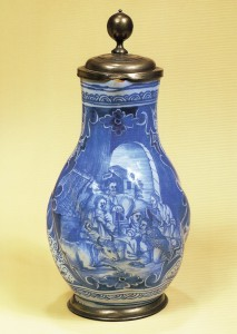 Nuremberg, Pear-shaped Jug, high-fired blue coloring, pewter mounting, ca. 1754
