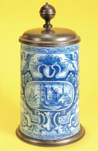 Nuremberg Tankard ca. 1740 , high-fired blue coloring, pewter mounting