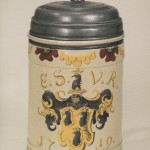 18th century Altenburg Saltglazed Stonware Tankard coat of Arms dated 1719