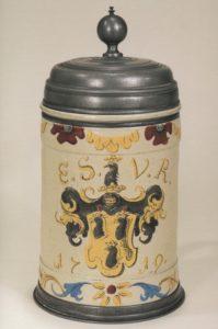 18th century Altenburg Saltglazed Stonware Tankard coat of Arms dated 1719