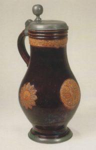 Bunzlauer Steinzeugkrug um 1670