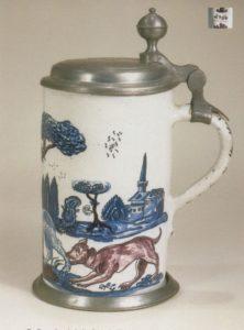 Friedberger Fayencewalzenkrug 1760 datiert