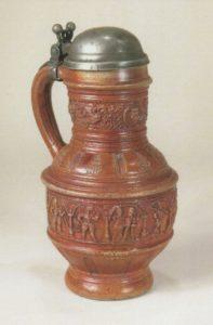 16th century saltglazed stoneware Raerener Mittelfrieskrug 1598 datiert