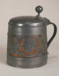 Early rare 17th century Thueringen Daubenkrug Tankard Pewter Wood ca. 1700