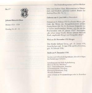 Meister Johann Heinrich Haas 1723 - 1729 Daubenkrugmeister in Kulmbach