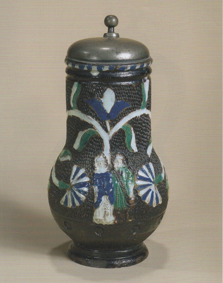 17th century saltglazed stoneware Muskau Birnkrug um 1670