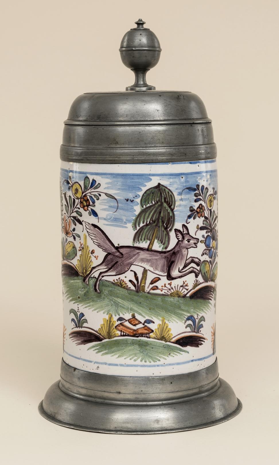 Erfurter Fayencewalzenkrug um 1778