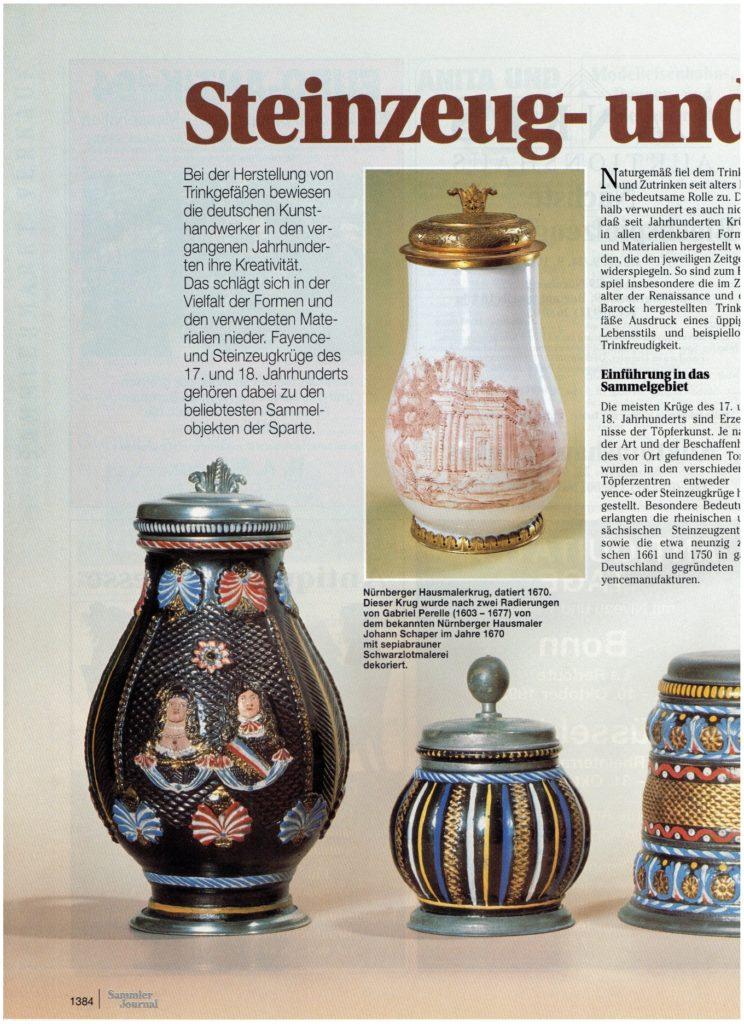 Sammlerjournal 9/1993 Steinzeug- und Fayencekrüge