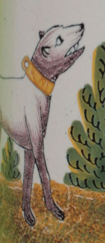 """Detail: Crailsheimer Jagdkrug der """"Gelben Familie"""" in Scharffeuermalerei um 1780"""