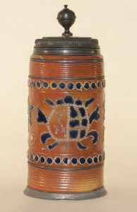 18th century Altenburg saltglazed Stoneware Tankard dated 1729 , H. 28 cm