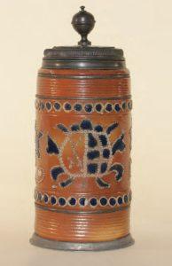 18th century Altenburg saltglazed Stoneware Tankard dated 1729 , H. 28 cm