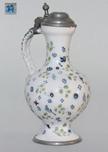"German Faience-Augsburg narrow necked jug ca. 1753 Manufakturmarke ""JH"", H. 26 cm"