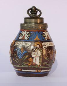 A Creussen pewter-mounted evangelist stoneware flask