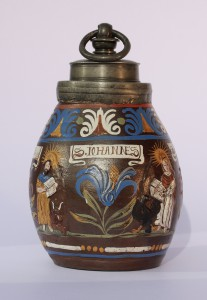 17th century Saltglazed Stoneware Creussen Bottle with Evangelisten ca. 1680