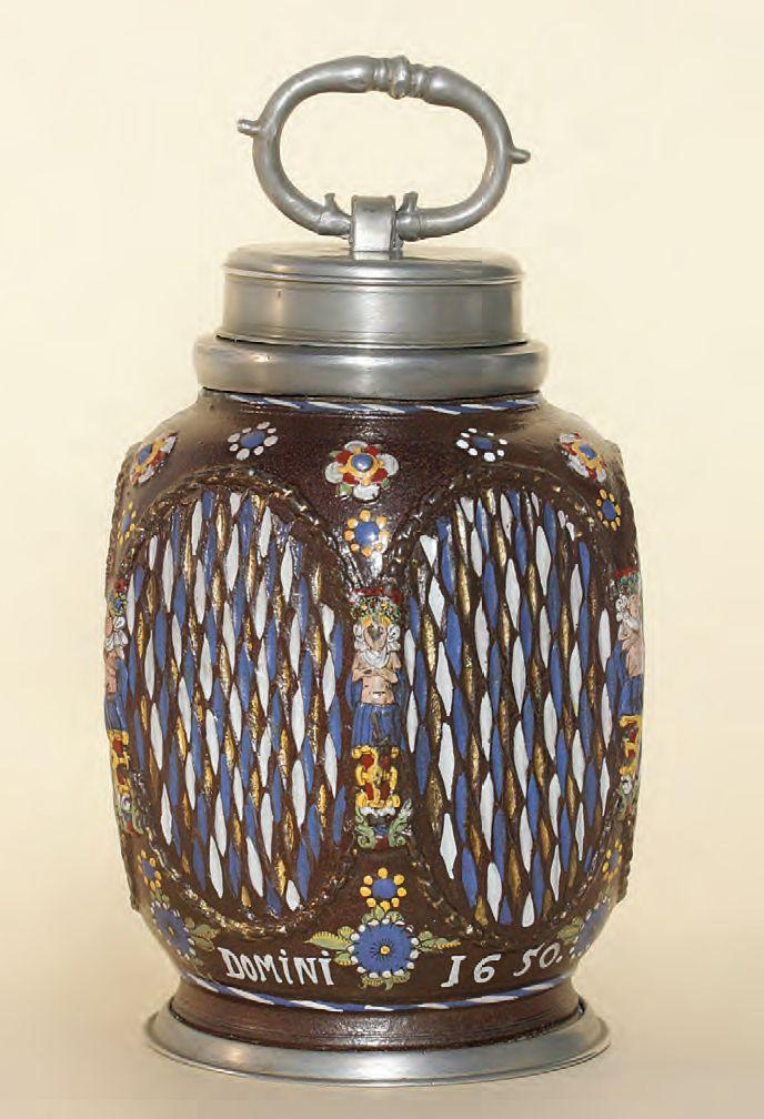 17th century Saltglazed Stoneware Creussen Bottle dated 1650, H. 20 cm