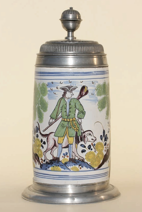 Dorotheenthal Faience Hunting Tankard ca. 1759