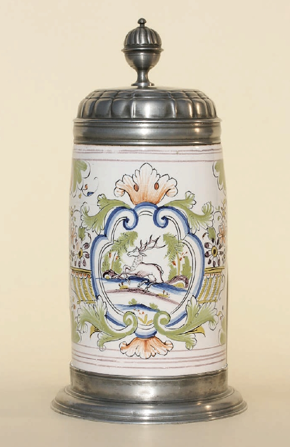 Dorotheenthal Faience Hunting Tankard ca. 1775