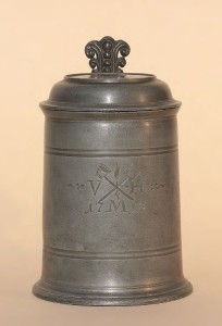 Pewter Brewer Guilt Tankard Traunstein dated 1713