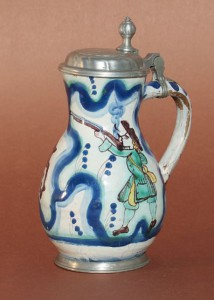 Salzburg Faience Hunting Pear Shaped Jug H. 18 cm