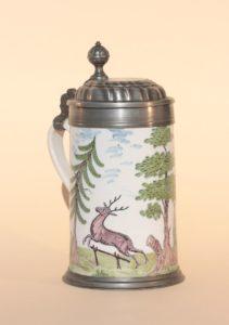 Schrezheim Faience Hunting Tankard ca. 1790 H. 23 cm