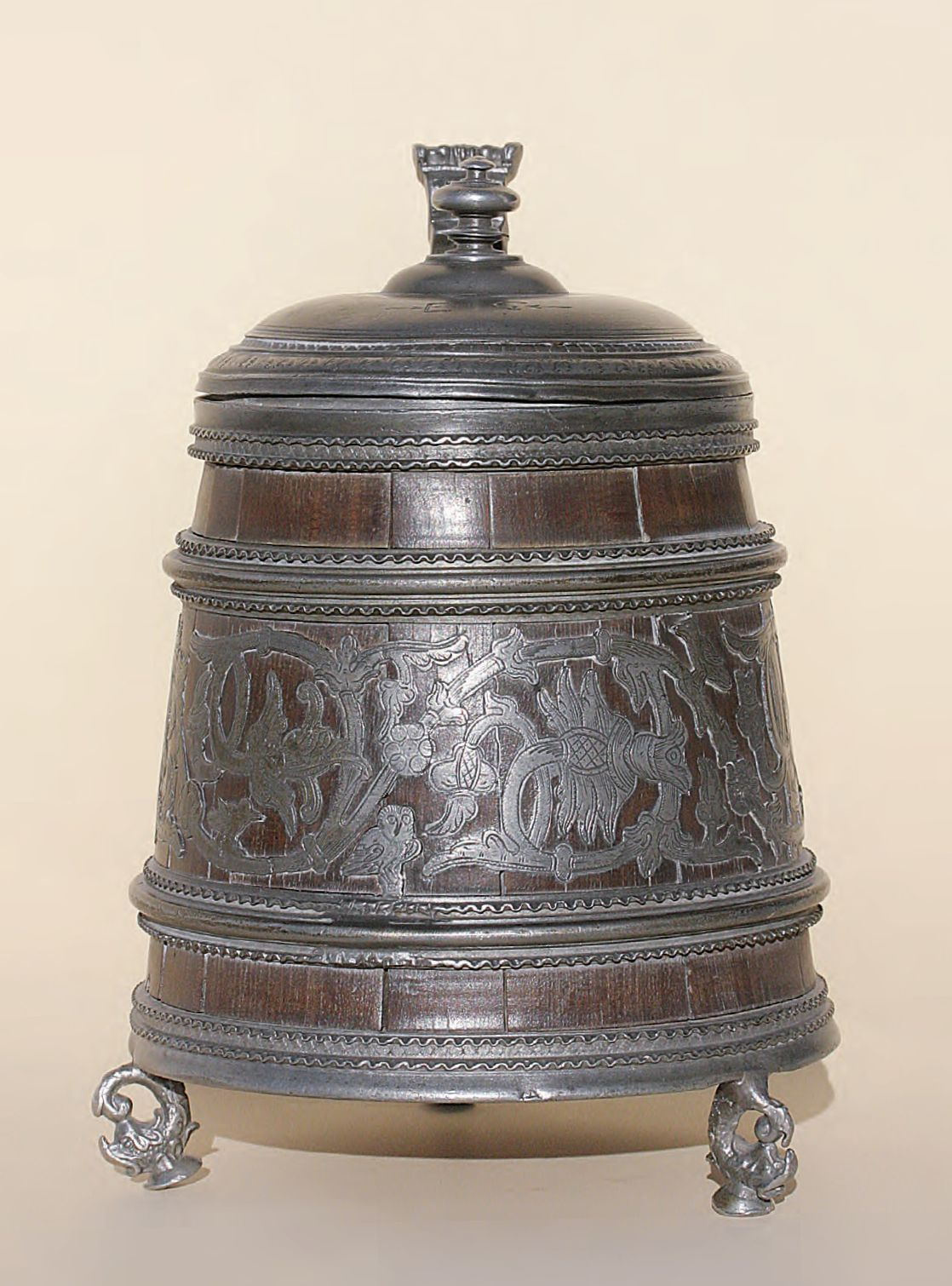 Early rare 17th century Thueringen Daubenkrug Tankard Pewter Wood ca. 1650