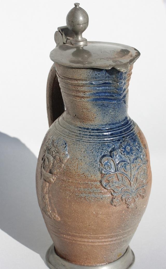 17th century Waldenburg Saltglazed stoneware Jug ca 1690