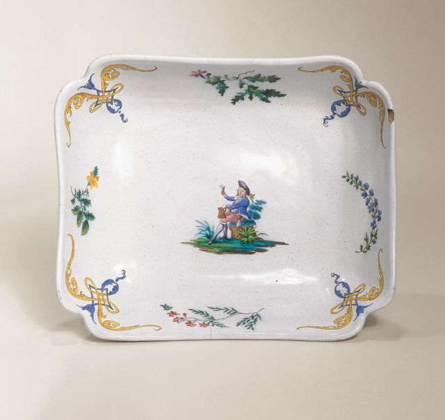 Hanau Faience Plate ca. 1750 Muffle-fired enamal colors
