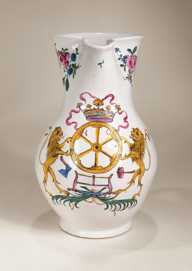 Holitsch Guild Jug dated 1776 muffle-fired enamel color