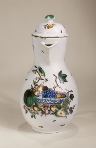 Kuenersberg Faience Coffee Pot ca. 1760 muffle-fired enamel colors