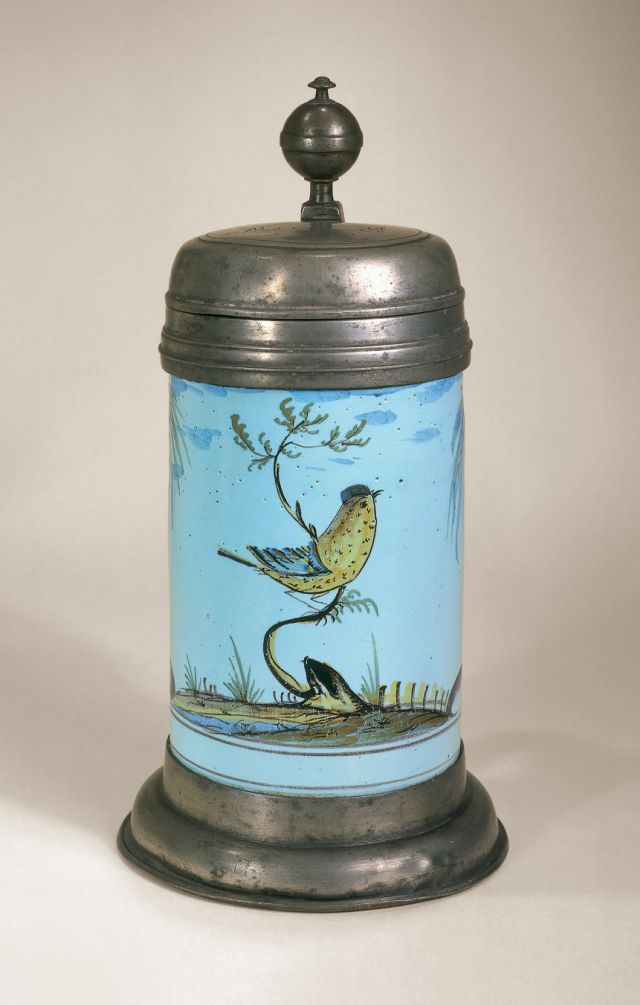 Offenbach Faience Tankard ca. 1810 - polychrome high fired colors