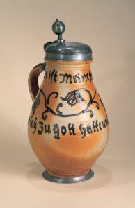 18th century Altenburg saltglazed Stoneware Jug dated 1740