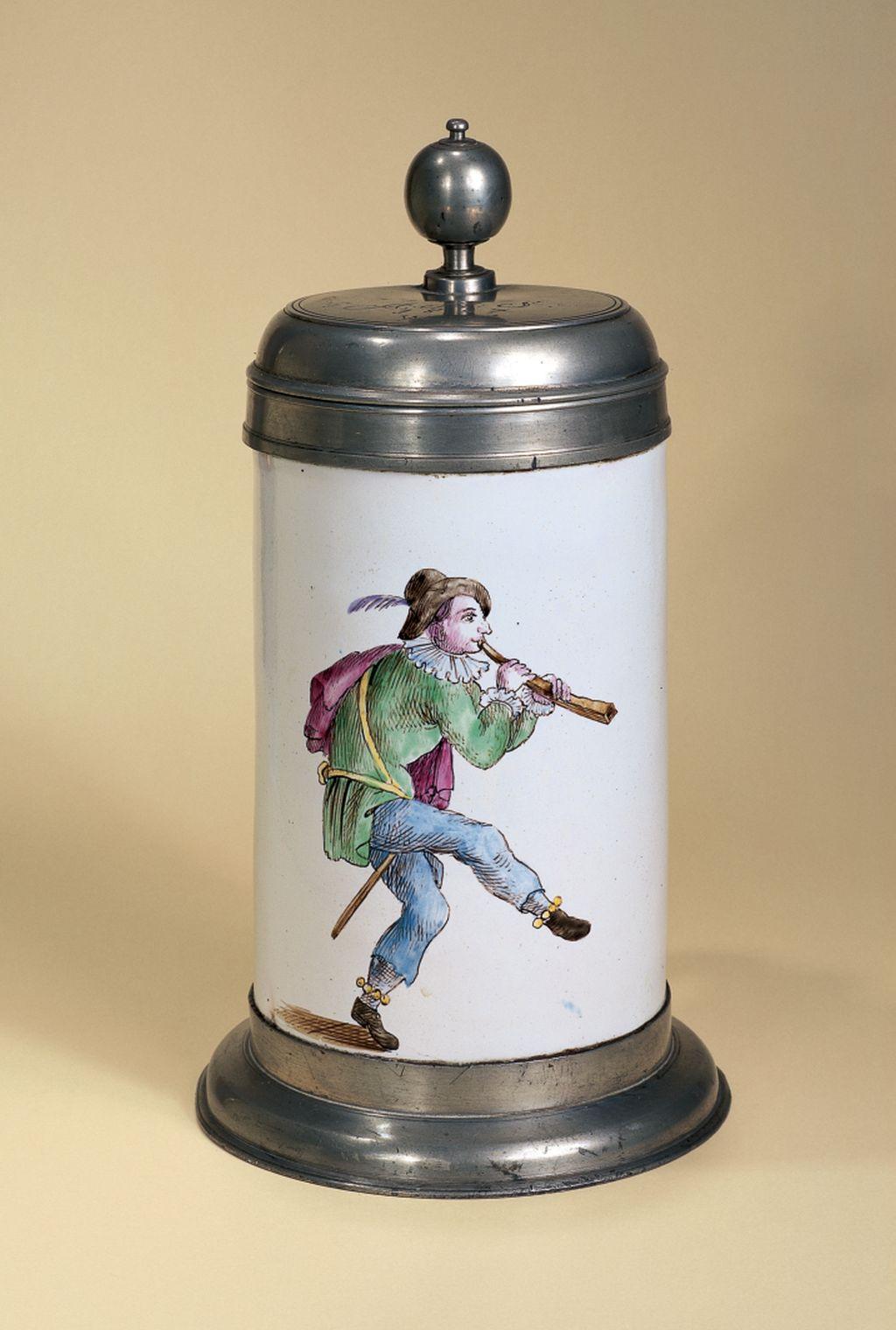 proskau-fayence-walzenkrug-musikanten-um-1800
