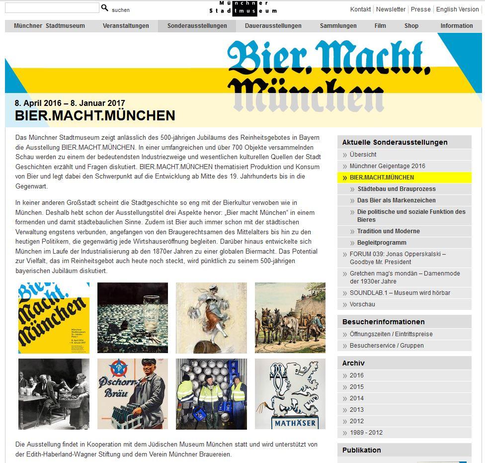Ausstellung: Bier Macht München Stadtmuseum 8. April 2016 – 8. Januar 2017
