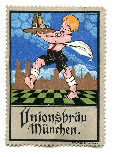 Reklamemarke Unionsbräu München, um 1910 Abbildung: Jüdisches Museum München