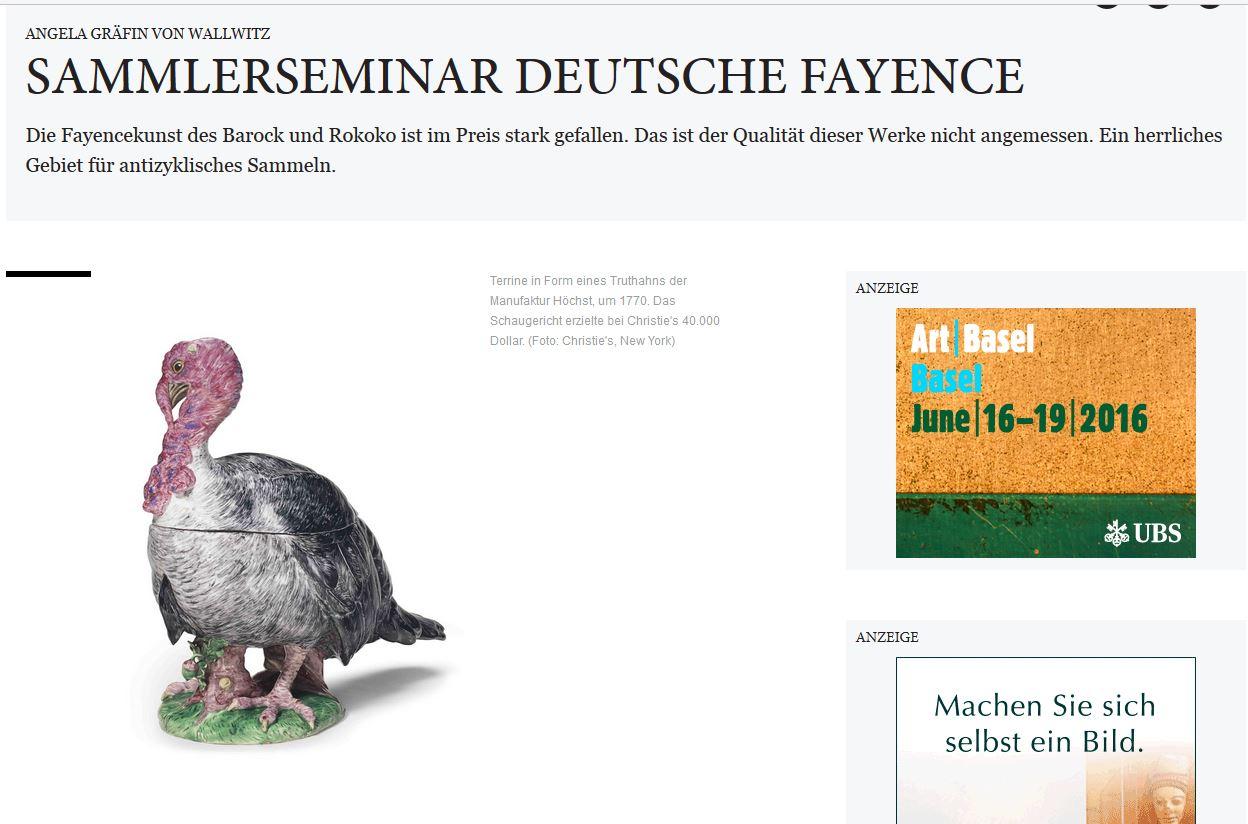 Weltkunst Sammlerseminar Deutsche Fayence