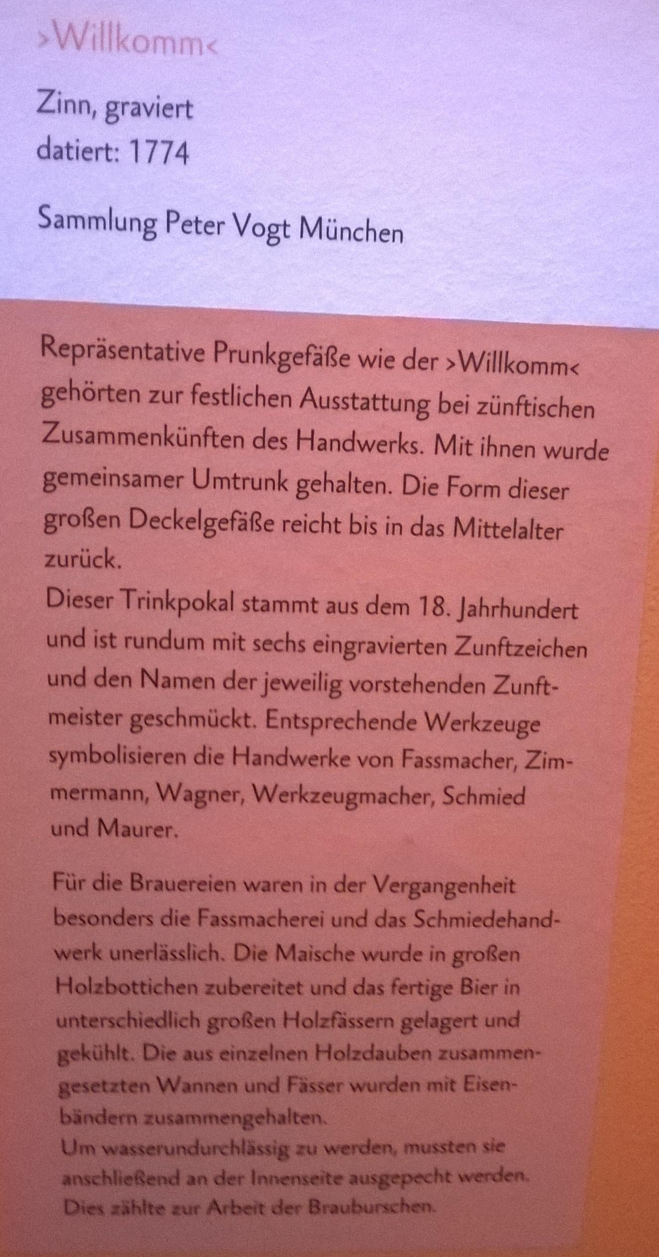 Willkomm Museum Dachau Bier lokal Ausstellung Sammlung Peter Vogt München