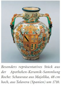 Apotheken-Keramik-Sammlung Roche: Schauvase aus Majolika, 48 cm hoch, aus Talavera (Spanien) um 1710