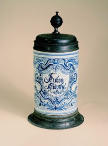 German-Faience-Abtsbessingen Fayencewalzenkrug 1762 datiert